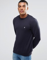 Asos Crew Neck Jumper In Navy Cotton With Logo