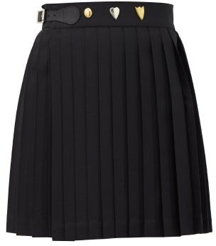 Charles Jeffrey Loverboy Knife-pleated Cotton-twill Mini Wrap Skirt - Black