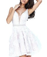 Winnie Bride V-Neck Lace Evening Party Dress for Wedding Short Homecoming Dress