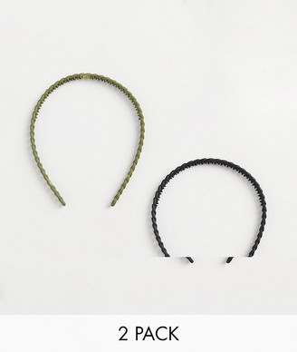 ASOS DESIGN pack of 2 headband in matte chain design