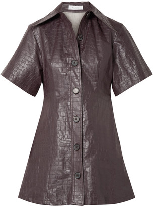 Beaufille Piper Croc-effect Coated-linen Mini Shirt Dress