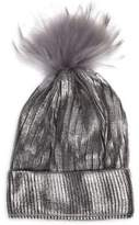Bari Lynn Kid's Fox Fur Pom-Pom Metallic Knit Hat
