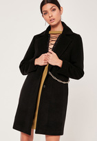 Missguided Chain Detail Faux Wool Coat Black