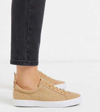 ASOS DESIGN Wide Fit Dunn lace up trainers in natural fabrication