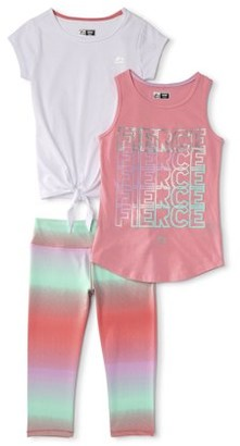 RBX Girls Graphic Active Tank Top, Tie-Front T-Shirt and Performance Capri Legging, 3-Piece Active Set, Sizes 4-18
