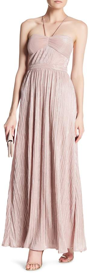 Laundry by Shelli Segal Foil Pleated Gown