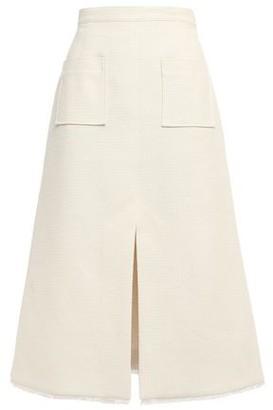 ALEXACHUNG Flared Frayed Boucle-tweed Skirt