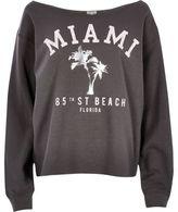 River Island Womens Grey Miami print sweatshirt