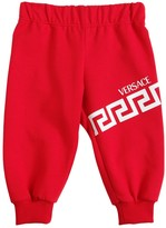 Versace LOGO PRINTED COTTON BLEND SWEATPANTS