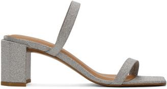 BY FAR Silver Glitter Tanya Heeled Sandals
