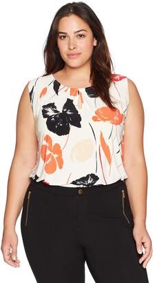 Kasper Women's Size Plus Floral Scoop Neck ITY Tank