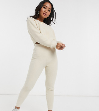 ASOS DESIGN Lounge Petite co-ord fine fluffy knit joggers
