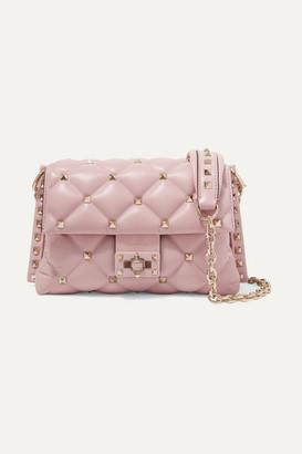Valentino Garavani Candystud Medium Quilted Leather Shoulder Bag - Pastel pink