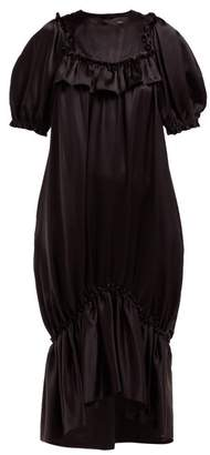 Simone Rocha Ruffle Trim Fishtail Hem Silk Satin Dress - Womens - Black