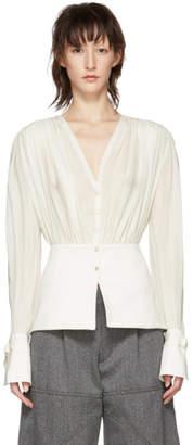 Chloé White Silk V-Neck Blouse