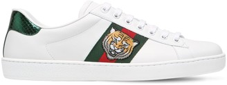 Gucci Tiger New Ace Leather Sneakers W/ Ayers