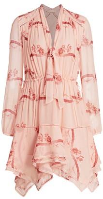 Jonathan Simkhai Irena Rose Print Silk Flare Shirtdress