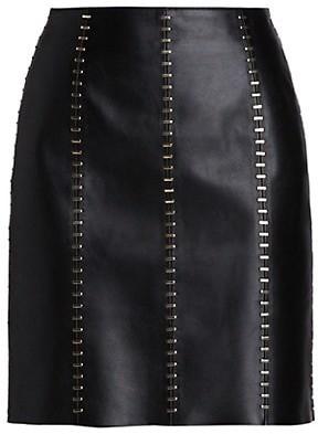 Alexander McQueen Stapled Leather Mini Skirt