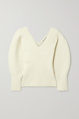 Mara Hoffman Net Sustain Olla Ribbed Organic Cotton-blend Sweater - Cream