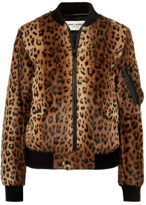 Saint Laurent Leather-trimmed Leopard-print Goat Hair Bomber Jacket