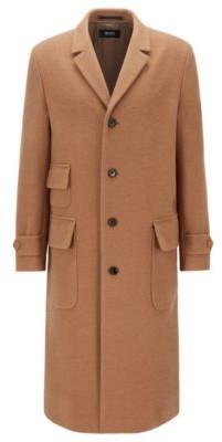 Overcoat in camel hair and virgin wool