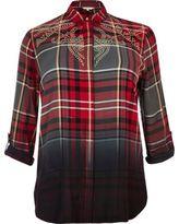 River Island Womens Plus red dip dye check western shirt