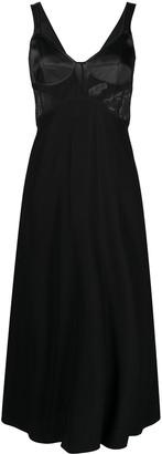 Victoria Beckham Bustier Sheer Panel Midi Dress