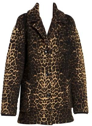 Saint Laurent Leopard Wool Blend Jacket
