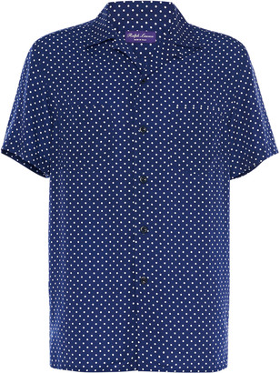 Ralph Lauren Purple Label Archer Polka-Dot Lyocell Shirt