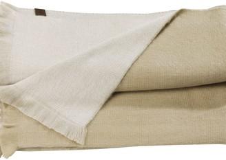 Alpaca Loca Double Plaid Beige & White Alpaca Wool Throw