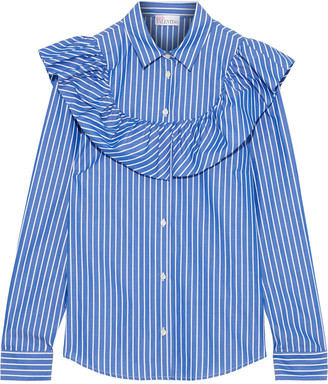 RED Valentino Ruffled Striped Cotton-poplin Shirt