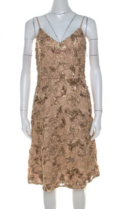 Mikael Aghal Gold Embellished Lace Cocktail Dress S