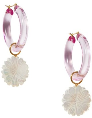 Lizzie Fortunato Spritz Mother-Of-Pearl & Acrylic Hoop Daisy Charm Earrings