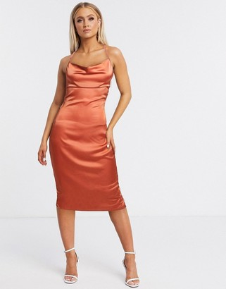 NaaNaa satin slip midi dress with cowl front in rust