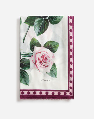 Dolce & Gabbana Tropical Rose Print Cashmere And Modal Scarf 135 X 200
