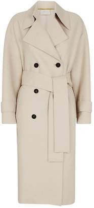 Harris Wharf London Pressed Wool & Polaire Trench Coat