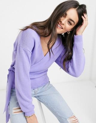 Glamorous v neck wrap knitted jumper in lavender