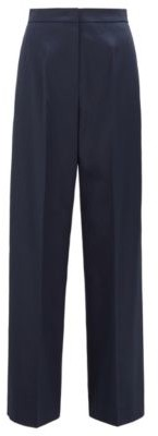 HUGO BOSS High Waisted Wide Leg Pants In Stretch Cotton - Light Blue