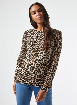 Dorothy Perkins Womens Multi Colour Leopard Print Crew Neck Jumper