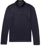 Dunhill Contrast-tipped Wool Polo Shirt - Navy
