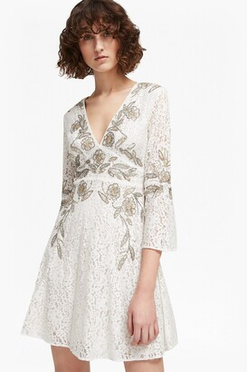 French Connection Esme Shimmer V Neck Floral Dress