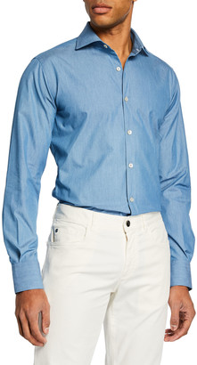 Canali Men's Long-Sleeve Chambray Dress Shirt