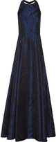 Alice + Olivia Teifer leather-trimmed jacquard gown