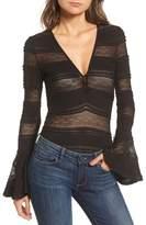Ella Moss Lace Bell Sleeve Thong Bodysuit
