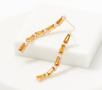 Baguette Gemstone & Diamond Drop Earrings, 1.80 cttw, 14K