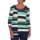 Alfred Dunner Montego Bay 3/4 Sleeve Scoop Neck Stripe T-Shirt-Womens