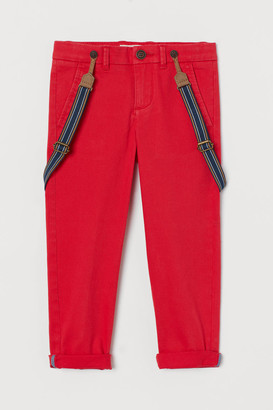 H&M Pants with Suspenders - Red