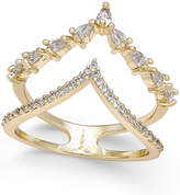 INC International Concepts Gold-Tone Crystal and Pavé Double V Ring, Only at Macy's
