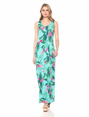 28 Palms Tropical Hawaiian Print Sleeveless Maxi Dress Casual