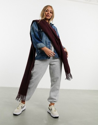 ASOS DESIGN supersoft long woven scarf with tassels in aubergine